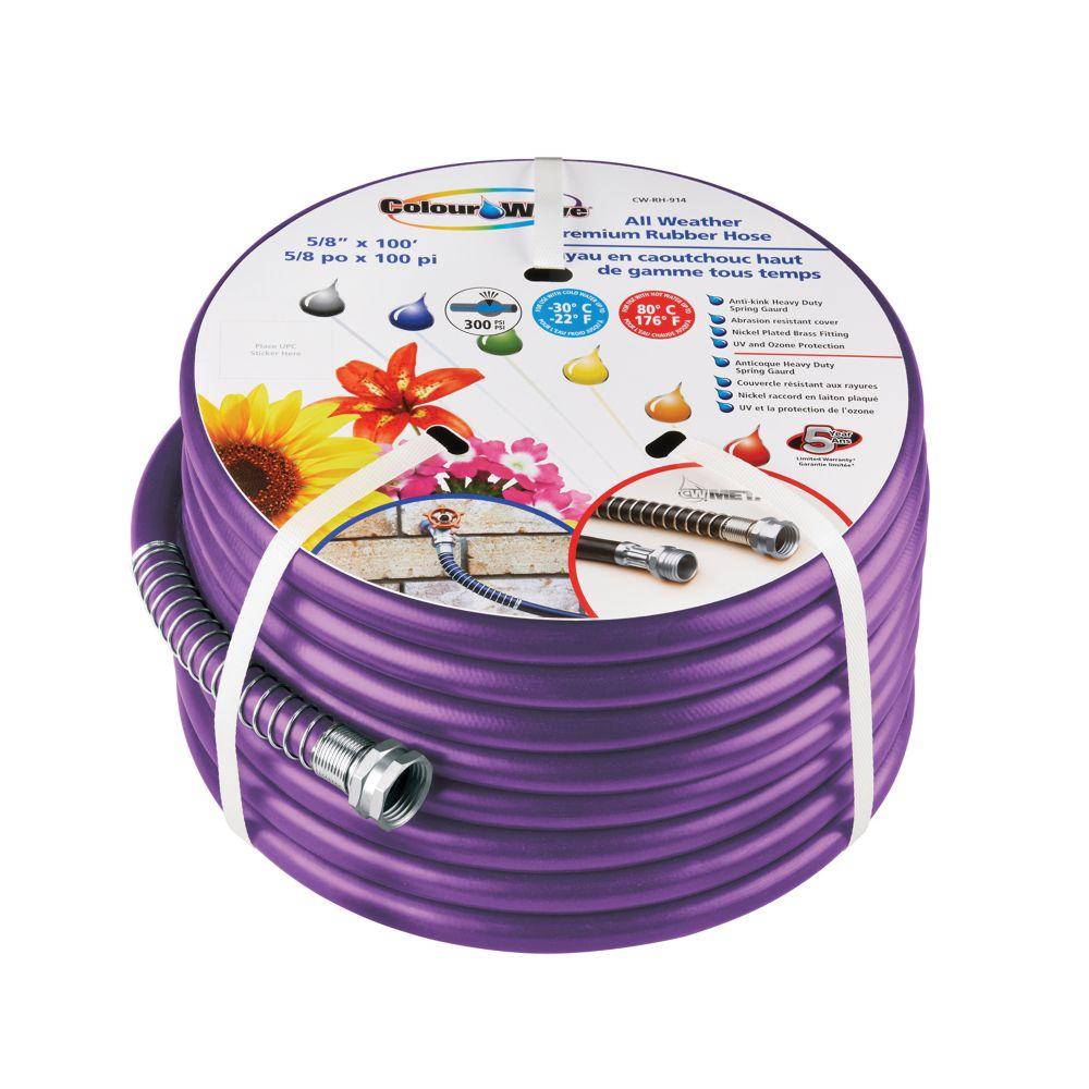 "5/8"" x 100' Premium Rubber Garden Hose - Purple"