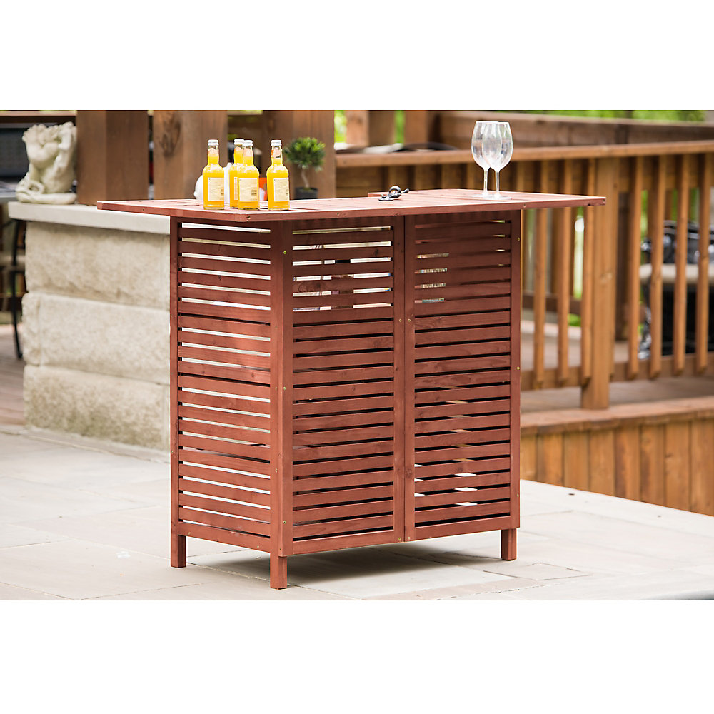 Leisure Season Outdoor Bar With Storage The Home Depot Canada