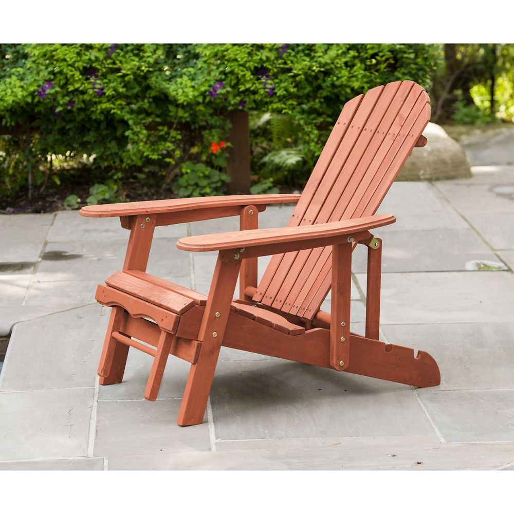 Leisure Season Reclining Patio Muskoka Chair With Pull-Out Ottoman