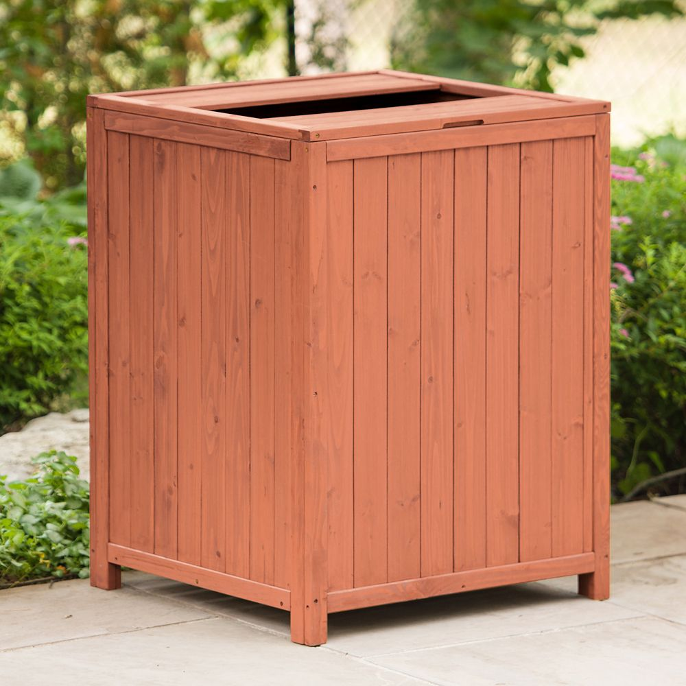 26-inch x 26-inch x 34-inch Patio Trash Receptacle