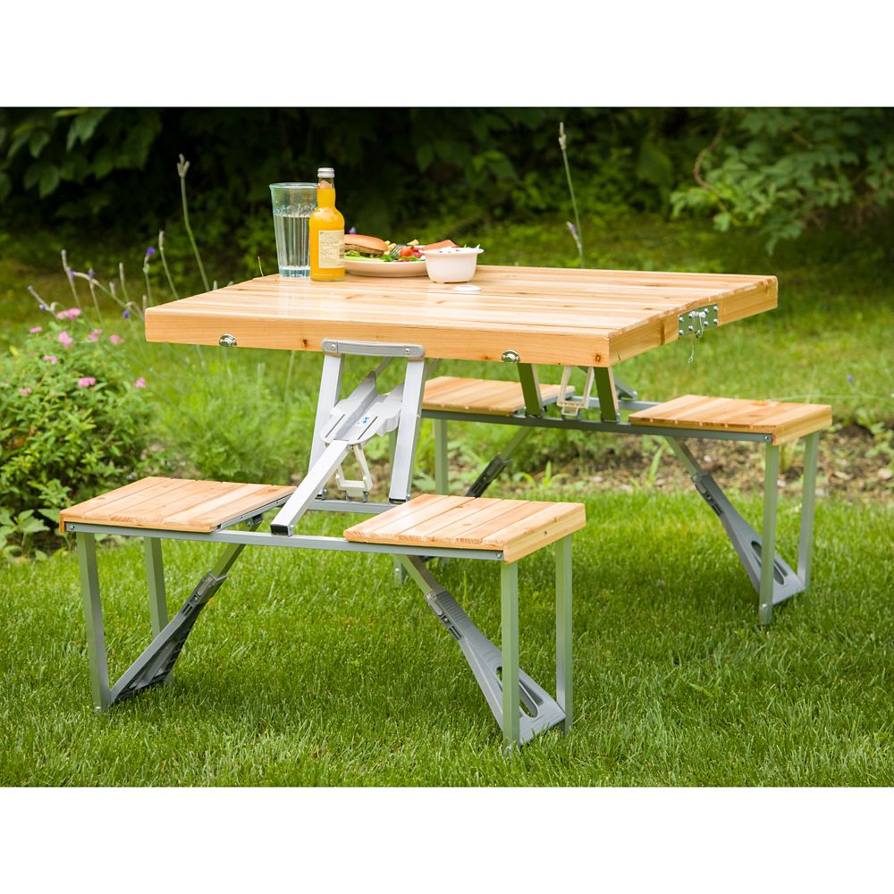 leisure season portable folding picnic table the home depot canada. Black Bedroom Furniture Sets. Home Design Ideas