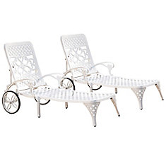 Chaises (2) blanches Lounge Biscayne