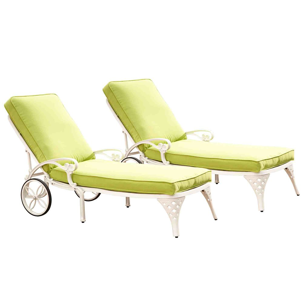 Home Styles Biscayne White Chaise Lounge Chairs (2) Green Apple Cushions
