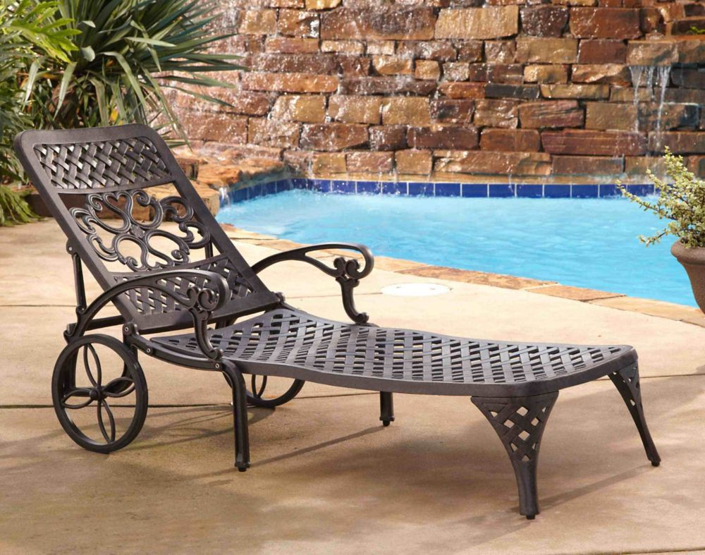 Home Styles Biscayne Chaise Lounge Chair in Bronze