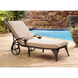 Home Styles Biscayne Bronze Chaise Lounge Chair Taupe Cushion