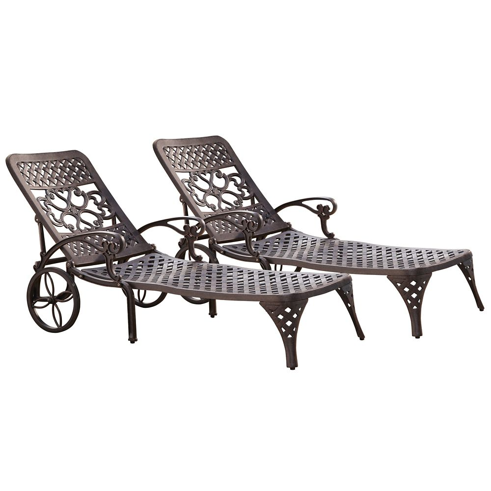 Biscayne Bronze Chaise Lounge Chairs (2)