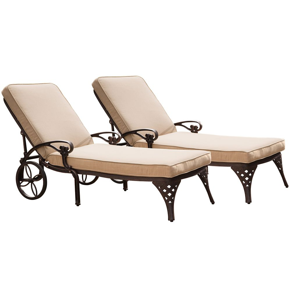 Biscayne Bronze Chaise Lounge Chairs (2) Taupe Cushions