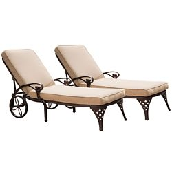 Home Styles Biscayne Bronze Chaise Lounge Chairs (2) Taupe Cushions