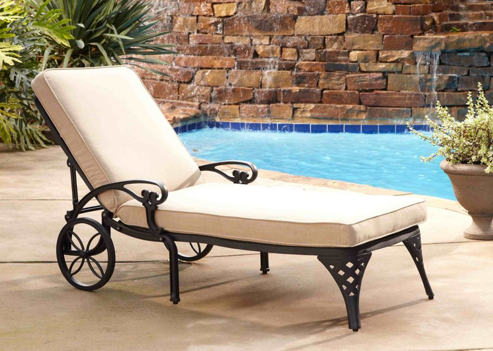 Home Styles Biscayne Black Chaise Lounge Chair Taupe Cushion