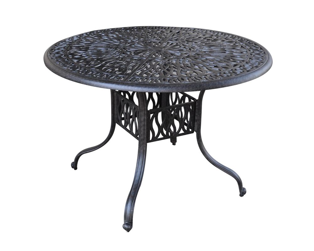 Floral Blossom 42-inch Round Patio Dining Table in Charcoal