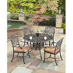 Floral Blossom 5-Piece Patio Charcoal Dining Set with 42 inch Round Table and Arm Chairs