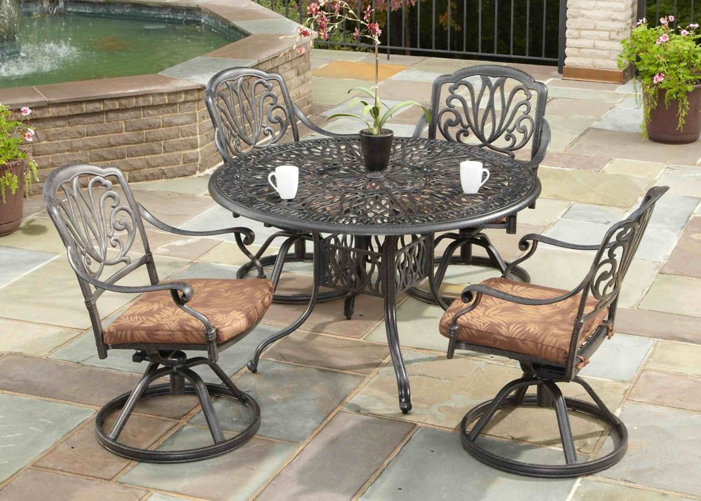 5-piece Patio Dining Set with 48-inch Round Table