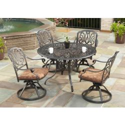 Floral Blossom 5-Piece Patio Dining Set with 48-inch Round Table and Swivel Chairs in Charcoal