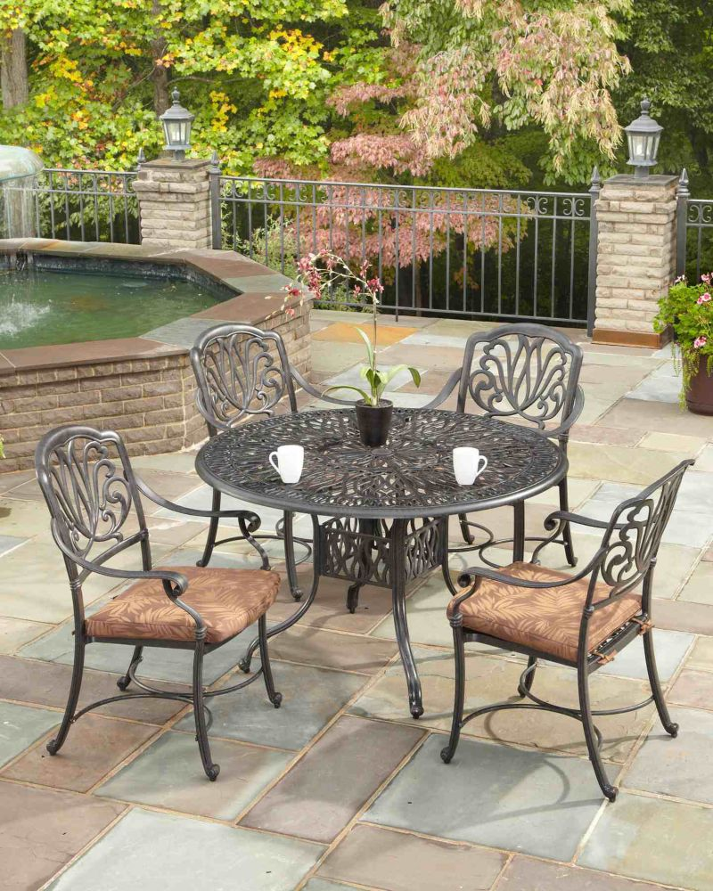 floral blossom 5 piece patio dining set with 48 inch round table the