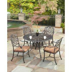 Floral Blossom Ensemble de salle à manger de patio de 5 pièces avec table ronde de 48 po et chaises à bras en charbon de bois