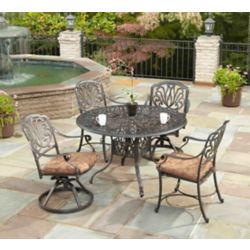 Floral Blossom 5-Piece Patio Dining Set with 48-inch Round Table and Dining Chairs in Charcoal