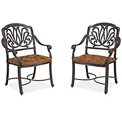Floral Blossom Patio Arm Chair with Cushion (Set of 2)