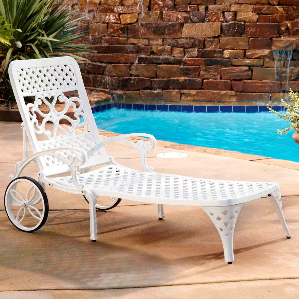Chaise blanche Lounge Biscayne