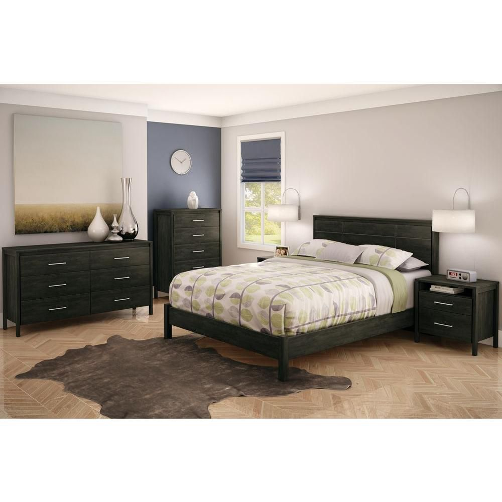 Gravity 60-inch x 33-inch x 17-inch 6-Drawer Dresser in Black