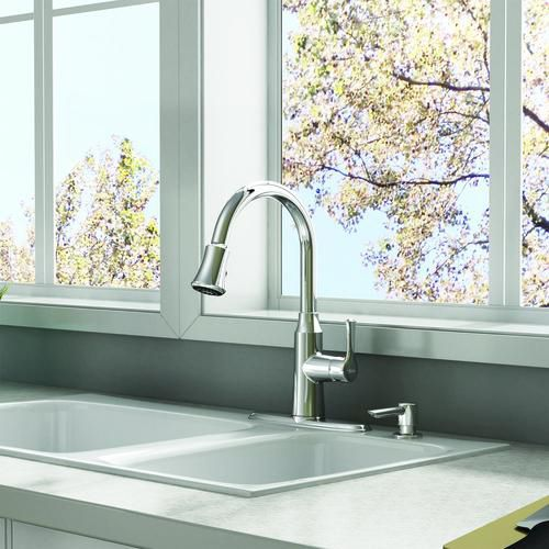 American Standard Danoa Single-Handle Pull-Down 3-Function Sprayer Kitchen Faucet with Soap Dispenser in Chrome