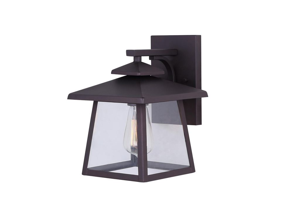 YUCCA 1 Light Oil Rubbed Bronze Outdoor Wall Lantern With Clear Glass