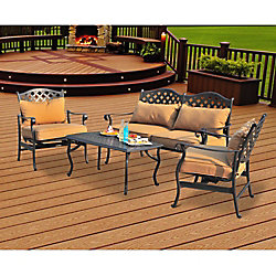 Sunjoy 4-Piece Patio Deep Seating Chair Set in Ruby