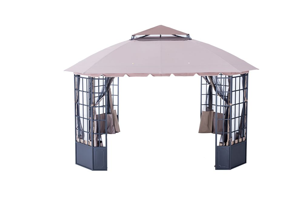 Carlisle 13 ft. x 11 ft. Gazebo with Two-Tiered Vented Canopy in Brown and Tan