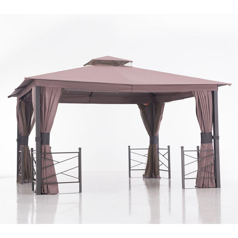 Sunjoy Chesnee 12 ft. x 10 ft. Gazebo with Corner Railings in Brown and Khaki