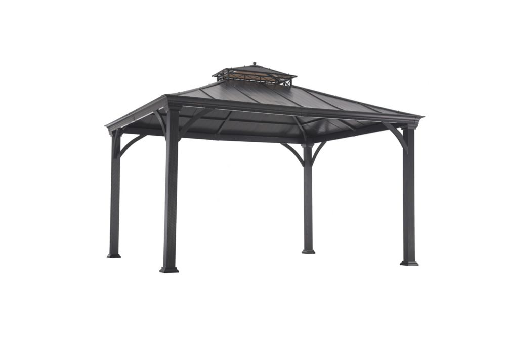 Sunjoy Jackson 12 ft. x 10 ft. Hard Top Gazebo with Two-Tiered Canopy