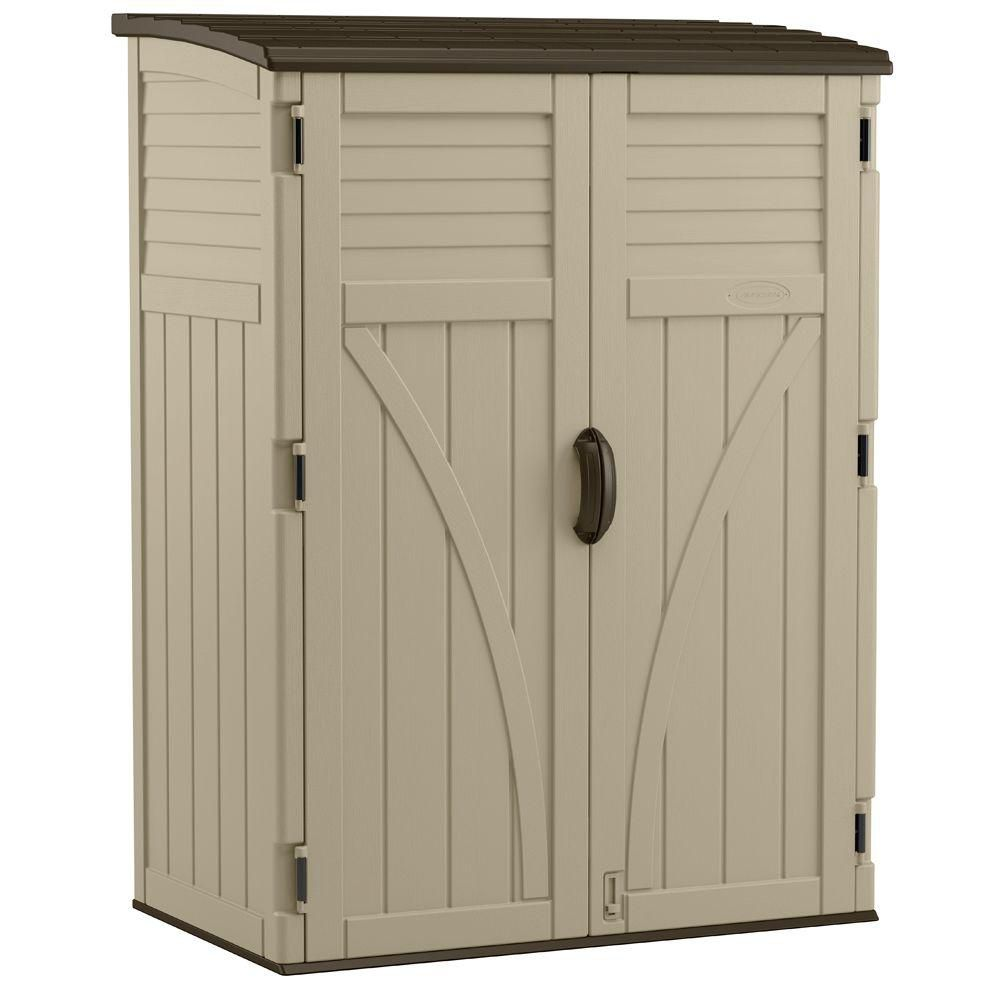 Suncast vertical storage shed 54 cu ft the home depot for Side of the house storage shed