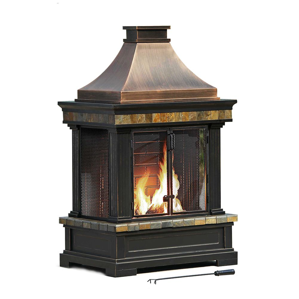 Sunjoy Amherst Wood Charcoal Outdoor Fireplace The Home Depot Canada