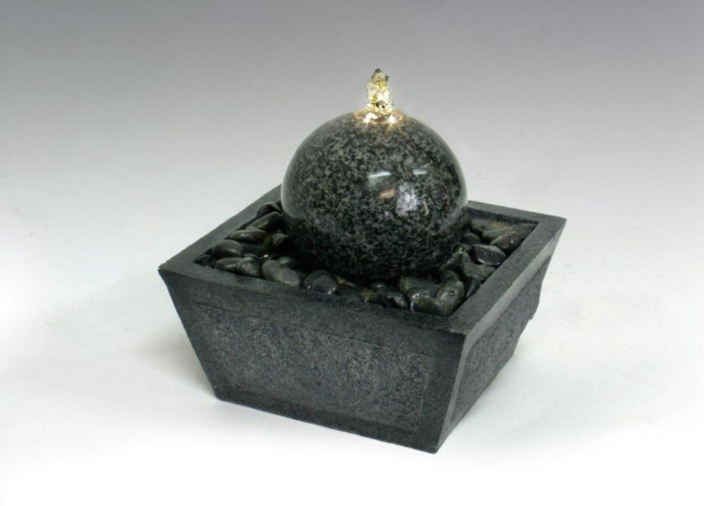 Algreen Products - Illuminated Relaxation Fountain With Granite Ball And Natural Stones