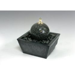Algreen Products Illuminated Relaxation Fountain with Granite Ball and Natural Stones