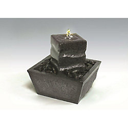 Algreen Products Illuminated Relaxation Fountain with Granite Pillar and Natural Stones