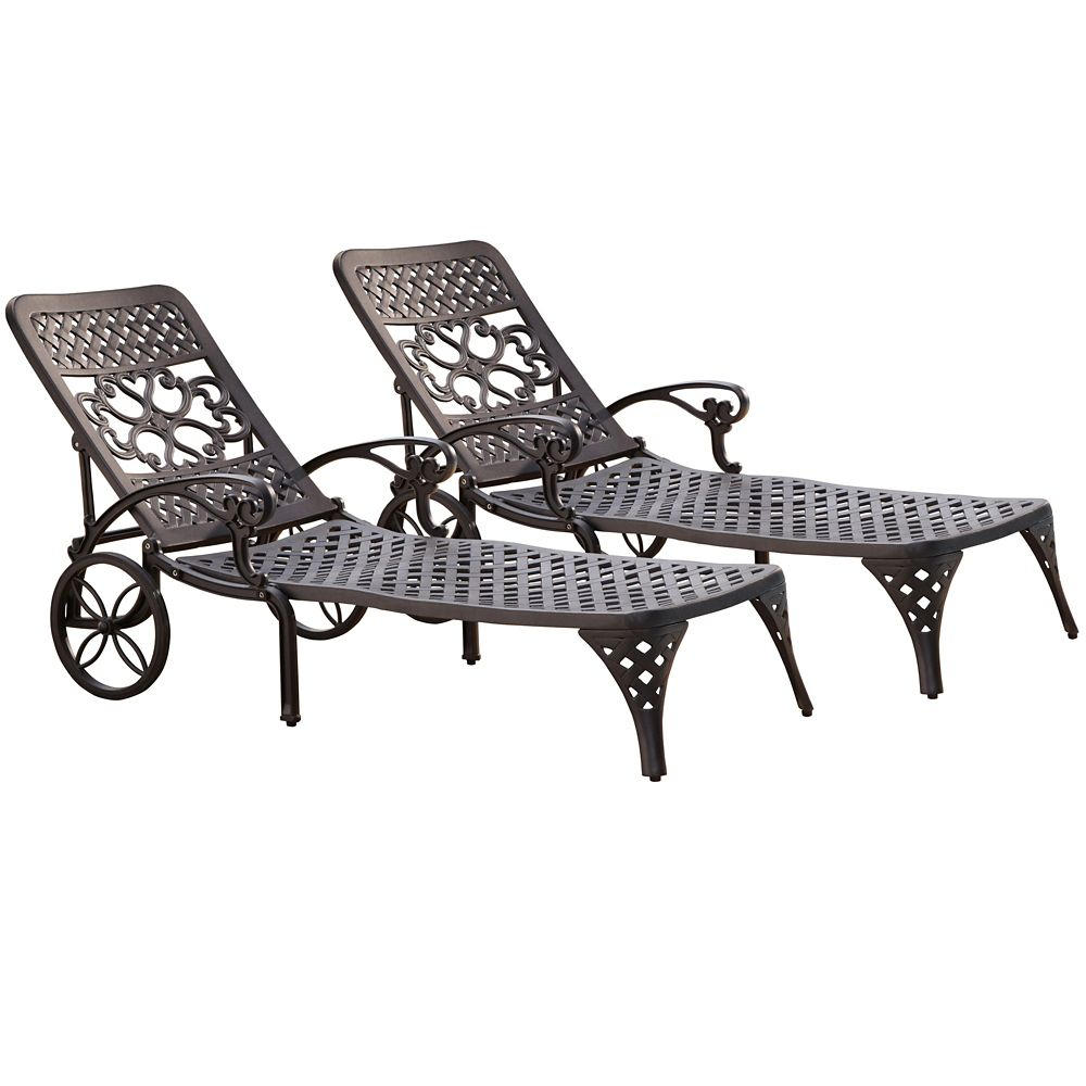 Home Styles Biscayne Black Chaise Lounge Chairs 2