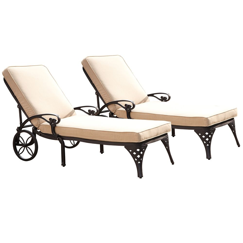 home styles biscayne black chaise lounge chairs 2 taupe. Black Bedroom Furniture Sets. Home Design Ideas