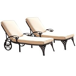 Home Styles Biscayne Black Chaise Lounge Chairs (2) Taupe Cushions