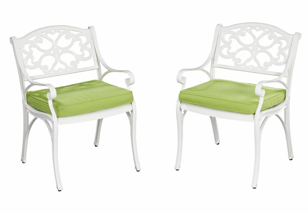 Biscayne Arm Chair Pair White Finish with Cushion