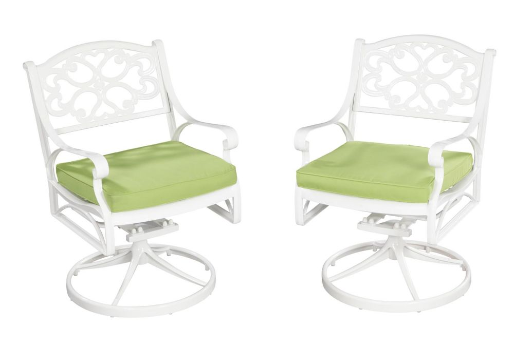 Biscayne Swivel Chair White Finish with Cushion