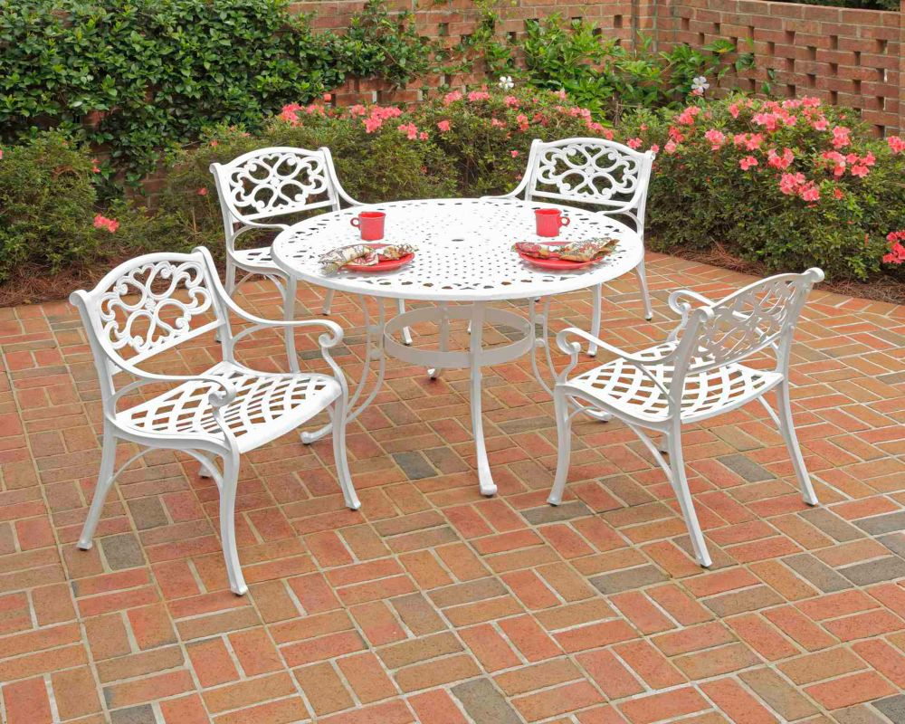 Home Styles Biscayne 5-Piece White Patio Dining Set with 48-inch Dining Table & Four Arm Chairs with Cushions