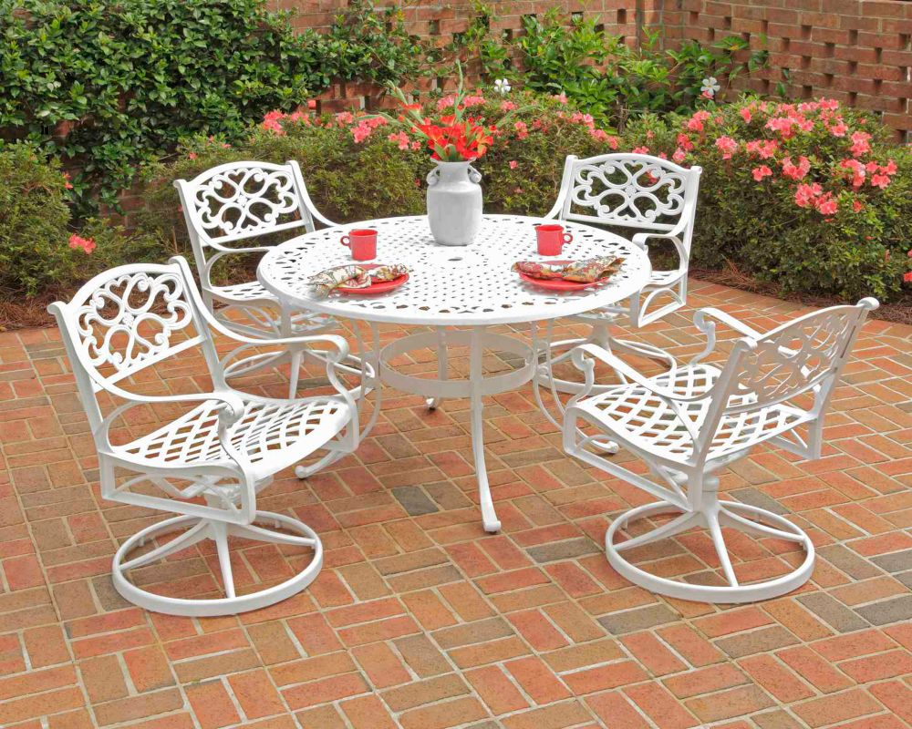 Biscayne 5-Piece Patio Dining Set with 48-inch Table and Four Cushioned Swivel Chairs