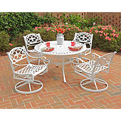Home Styles Biscayne 5-Piece White Patio Dining Set with 48-inch Dining Table & Four Swivel Chairs with Cushions