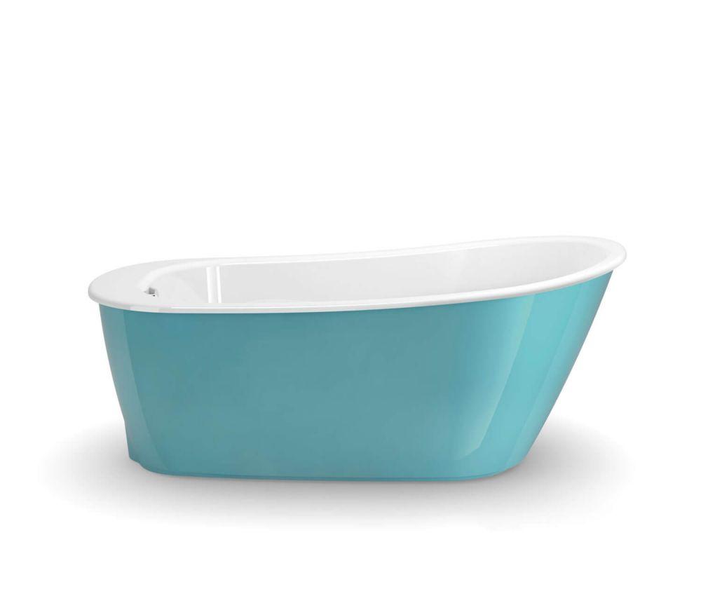 MAAX Sax 5 ft. Fiberglass Reversible Drain Flat-bottom Non-Whirlpool Bathtub in Aqua