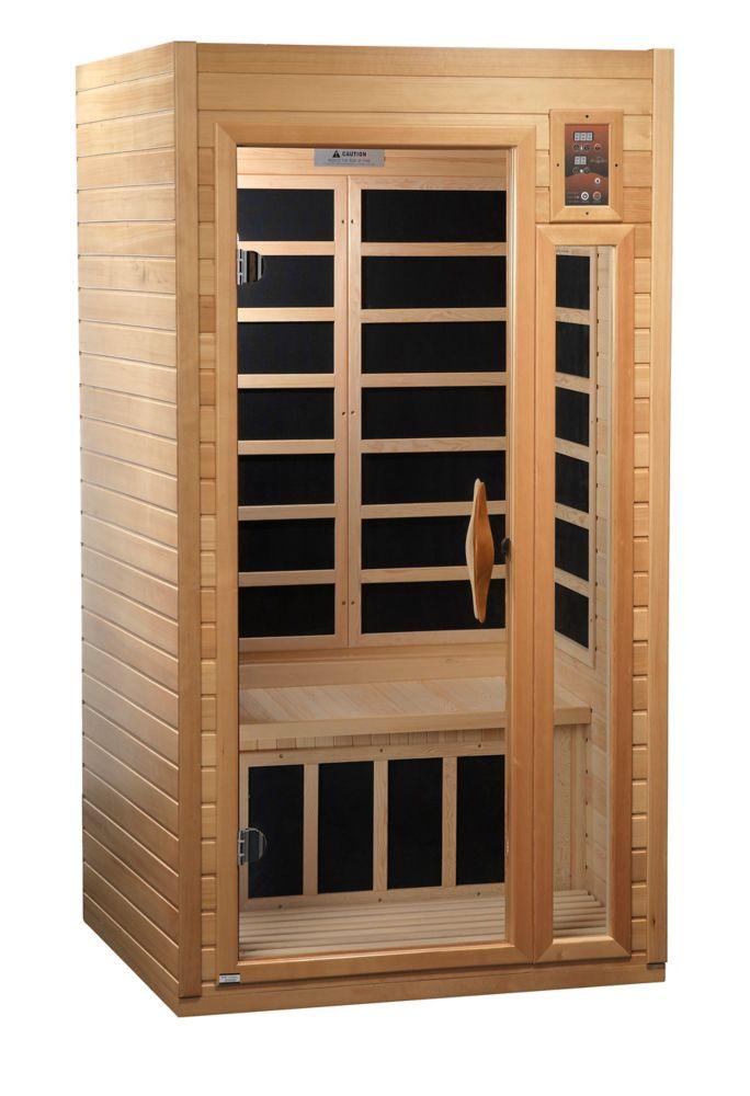 Sauna infrarouge carbone 1-2 personnes avec 7 ans garantie chromothérapie MP3 stéréo et 2 haut-pa...