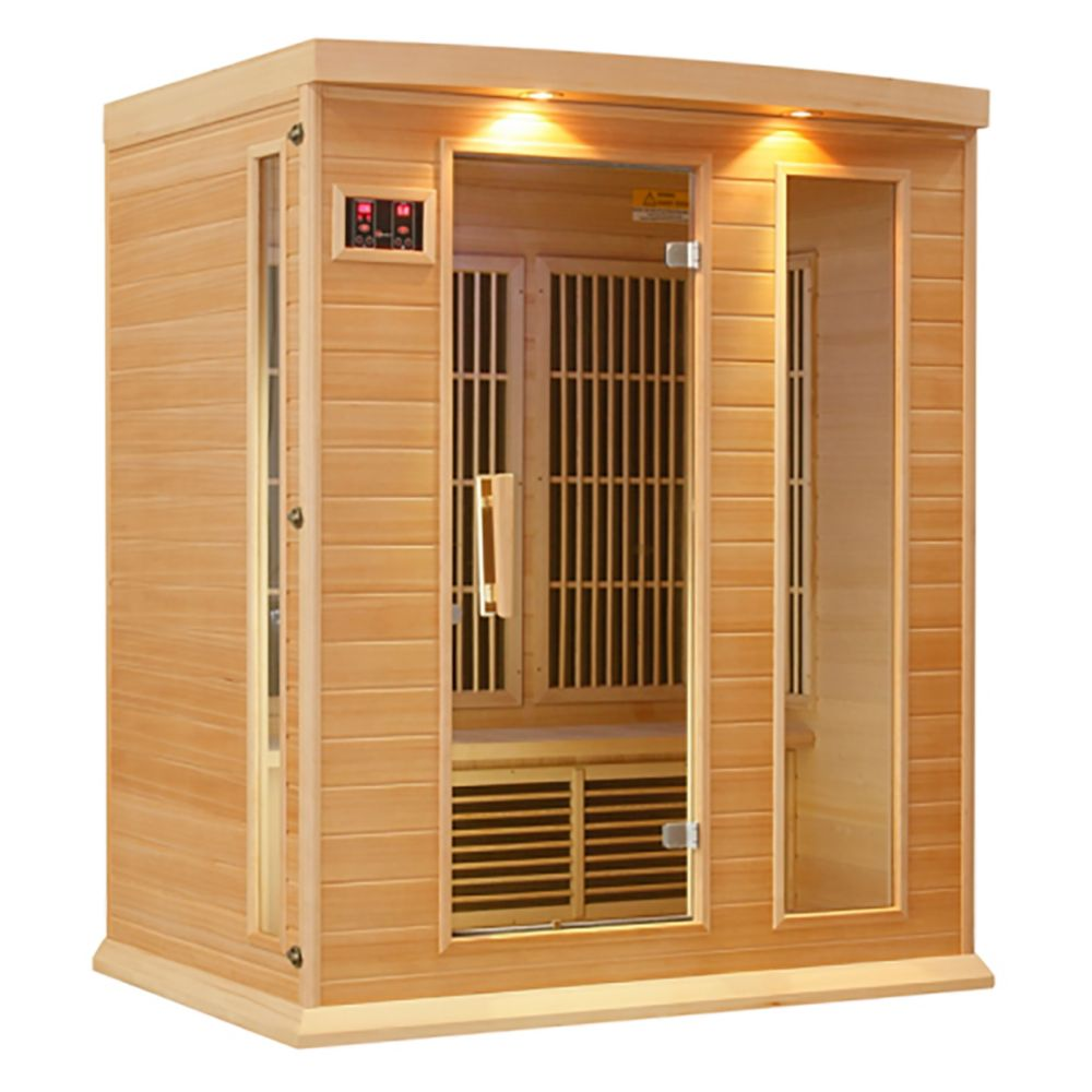 K306 3 Person Far Infrared Sauna with 7 Year Warranty Chromotherapy MP3 CD Stereo and 2 Speakers