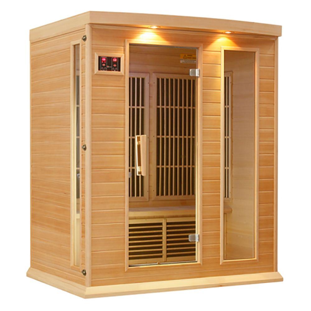 Sauna infrarouge carbone 3 personnes avec 7 ans garantie chromothérapie MP3 stéréo et 2 haut-parl...