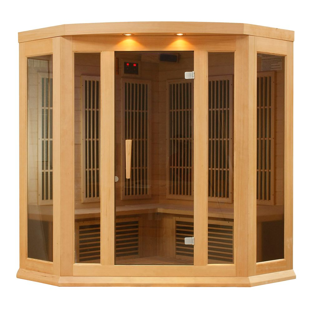 K306 3 Person Far Infrared Corner Sauna with 7 Year Warranty Chromotherapy MP3 CD Stereo and 2 Sp...