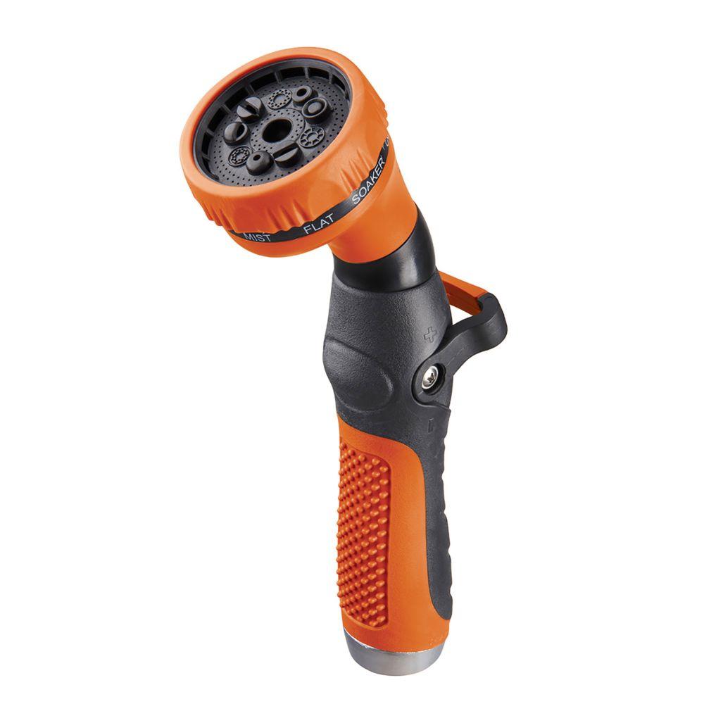Pistolet d'arrosage avec commande au pouce, de couleur orange