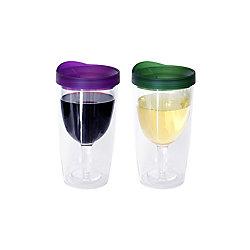 Party Brands Ensemble de deux verres à vin sans pied, violet et vert