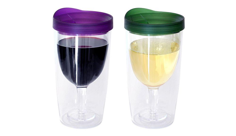 Ensemble de deux verres à vin sans pied, violet et vert